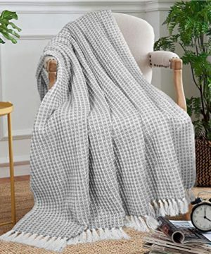GLAMBURG 100 Cotton Throw Blanket For Couch Sofa Bed Beach Outdoor 50x60 Cotton Throws Blanket For Adults And Kids All Season Waffle Weave Farmhouse Throw Blanket Charcoal Grey 0 1 300x360