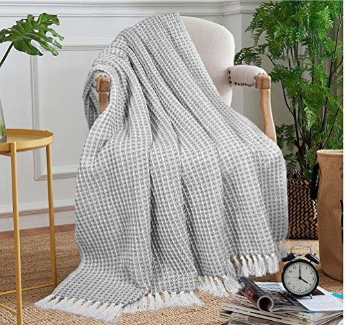 GLAMBURG 100 Cotton Throw Blanket For Couch Sofa Bed Beach Outdoor 50x60 Cotton Throws Blanket For Adults And Kids All Season Waffle Weave Farmhouse Throw Blanket Charcoal Grey 0 1