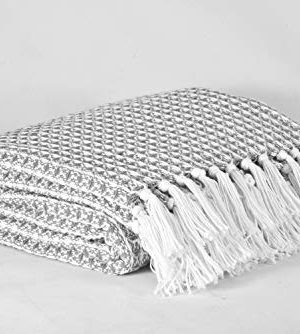 GLAMBURG 100 Cotton Throw Blanket For Couch Sofa Bed Beach Outdoor 50x60 Cotton Throws Blanket For Adults And Kids All Season Waffle Weave Farmhouse Throw Blanket Charcoal Grey 0 2 300x334