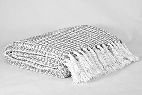 GLAMBURG 100 Cotton Throw Blanket For Couch Sofa Bed Beach Outdoor 50x60 Cotton Throws Blanket For Adults And Kids All Season Waffle Weave Farmhouse Throw Blanket Charcoal Grey 0 2