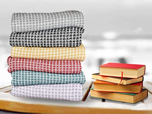 GLAMBURG 100 Cotton Throw Blanket For Couch Sofa Bed Beach Outdoor 50x60 Cotton Throws Blanket For Adults And Kids All Season Waffle Weave Farmhouse Throw Blanket Charcoal Grey 0 3