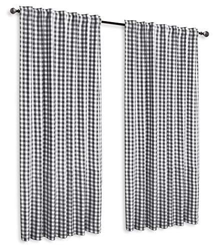 GLAMBURG 2 Pack 100 Cotton Window Curtain Panel 50X108 Gingham Check Plaid Farmhouse Style Tab Top Curtains Charcoal 0 0