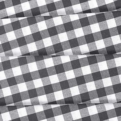 GLAMBURG 2 Pack 100 Cotton Window Curtain Panel 50X108 Gingham Check Plaid Farmhouse Style Tab Top Curtains Charcoal 0 1