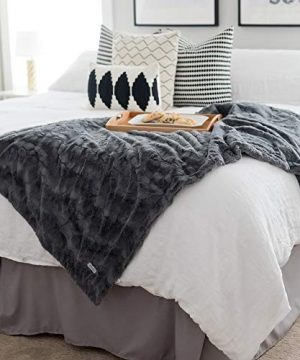 GRACED SOFT LUXURIES Softest Warm Elegant Cozy Faux Fur Home Throw Blanket Solid Gray Large 50 X 60 0 0 300x360