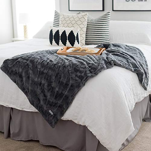 GRACED SOFT LUXURIES Softest Warm Elegant Cozy Faux Fur Home Throw Blanket Solid Gray Large 50 X 60 0 0
