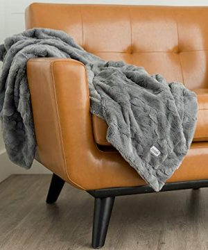 GRACED SOFT LUXURIES Softest Warm Elegant Cozy Faux Fur Home Throw Blanket Solid Gray Large 50 X 60 0 1 300x360