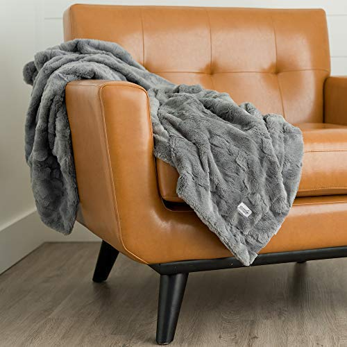 GRACED SOFT LUXURIES Softest Warm Elegant Cozy Faux Fur Home Throw Blanket Solid Gray Large 50 X 60 0 1