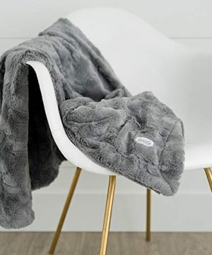 GRACED SOFT LUXURIES Softest Warm Elegant Cozy Faux Fur Home Throw Blanket Solid Gray Large 50 X 60 0 2 300x360