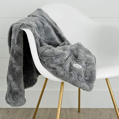 GRACED SOFT LUXURIES Softest Warm Elegant Cozy Faux Fur Home Throw Blanket Solid Gray Large 50 X 60 0 2