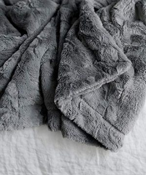 GRACED SOFT LUXURIES Softest Warm Elegant Cozy Faux Fur Home Throw Blanket Solid Gray Large 50 X 60 0 3 300x360