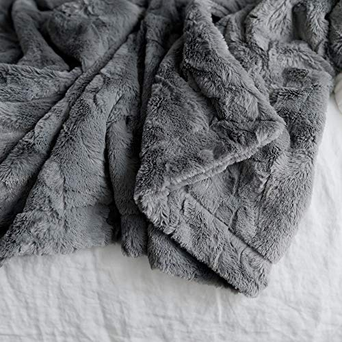 GRACED SOFT LUXURIES Softest Warm Elegant Cozy Faux Fur Home Throw Blanket Solid Gray Large 50 X 60 0 3
