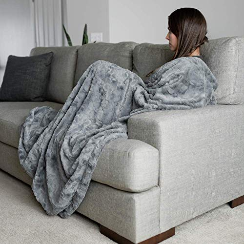 GRACED SOFT LUXURIES Softest Warm Elegant Cozy Faux Fur Home Throw Blanket Solid Gray Large 50 X 60 0