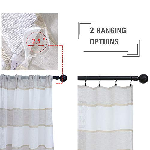 GRALI Linen Sheer Curtains For Bedroom Horizontal Cabana Strip Burlap Drapes For Country Style Home Decor Linen Color 2 Pieces 52 X 63 Each Panel 0 0