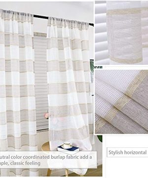 GRALI Linen Sheer Curtains For Bedroom Horizontal Cabana Strip Burlap Drapes For Country Style Home Decor Linen Color 2 Pieces 52 X 63 Each Panel 0 1 300x360