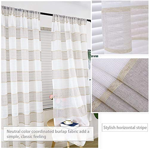 GRALI Linen Sheer Curtains For Bedroom Horizontal Cabana Strip Burlap Drapes For Country Style Home Decor Linen Color 2 Pieces 52 X 63 Each Panel 0 1