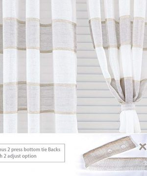 GRALI Linen Sheer Curtains For Bedroom Horizontal Cabana Strip Burlap Drapes For Country Style Home Decor Linen Color 2 Pieces 52 X 63 Each Panel 0 2 300x360