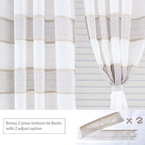 GRALI Linen Sheer Curtains For Bedroom Horizontal Cabana Strip Burlap Drapes For Country Style Home Decor Linen Color 2 Pieces 52 X 63 Each Panel 0 2