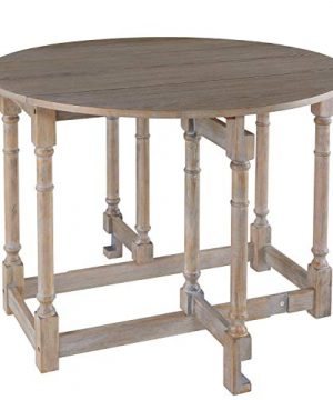 Gateleg Convertible Dining Table Farmhouse Style Transforming Table Space Saving Burnt Oak 0 300x360