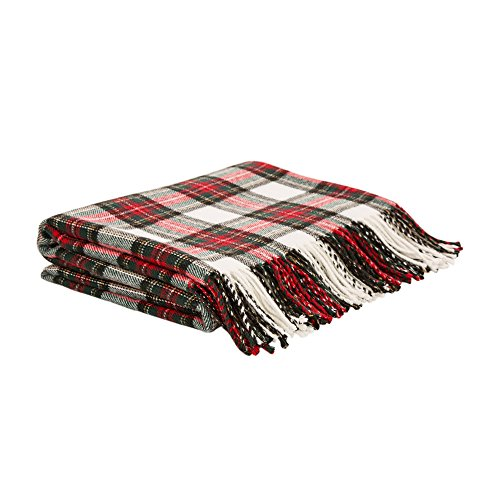 Glitzhome Throw Blanket For Couch Soft Cozy Throw Blanket For Bed Tartan Shawl With Tassels Plaid Throw Blanket For Sofa Reversible Wrap Scarf For Women Men 60 X 50 Inches 0 0