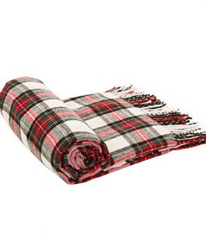 Glitzhome Throw Blanket For Couch Soft Cozy Throw Blanket For Bed Tartan Shawl With Tassels Plaid Throw Blanket For Sofa Reversible Wrap Scarf For Women Men 60 X 50 Inches 0 1 300x360