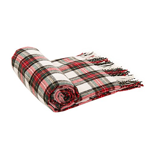Glitzhome Throw Blanket For Couch Soft Cozy Throw Blanket For Bed Tartan Shawl With Tassels Plaid Throw Blanket For Sofa Reversible Wrap Scarf For Women Men 60 X 50 Inches 0 1