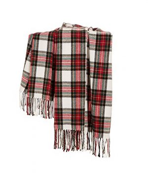 Glitzhome Throw Blanket For Couch Soft Cozy Throw Blanket For Bed Tartan Shawl With Tassels Plaid Throw Blanket For Sofa Reversible Wrap Scarf For Women Men 60 X 50 Inches 0 2 300x360