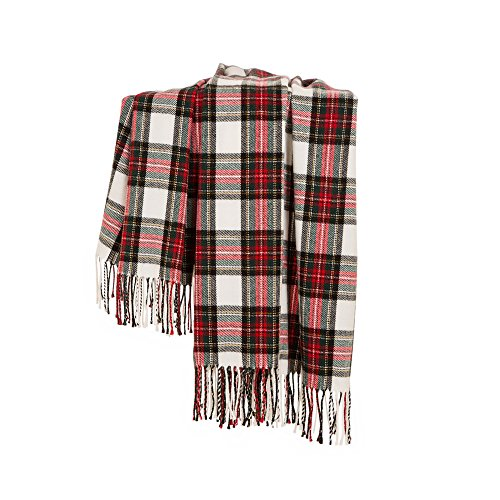 Glitzhome Throw Blanket For Couch Soft Cozy Throw Blanket For Bed Tartan Shawl With Tassels Plaid Throw Blanket For Sofa Reversible Wrap Scarf For Women Men 60 X 50 Inches 0 2