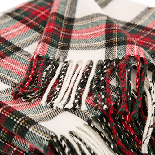 Glitzhome Throw Blanket For Couch Soft Cozy Throw Blanket For Bed Tartan Shawl With Tassels Plaid Throw Blanket For Sofa Reversible Wrap Scarf For Women Men 60 X 50 Inches 0 3