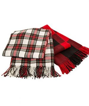 Glitzhome Throw Blanket For Couch Soft Cozy Throw Blanket For Bed Tartan Shawl With Tassels Plaid Throw Blanket For Sofa Reversible Wrap Scarf For Women Men 60 X 50 Inches 0 5 300x360