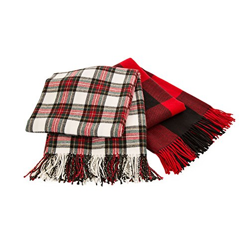 Glitzhome Throw Blanket For Couch Soft Cozy Throw Blanket For Bed Tartan Shawl With Tassels Plaid Throw Blanket For Sofa Reversible Wrap Scarf For Women Men 60 X 50 Inches 0 5