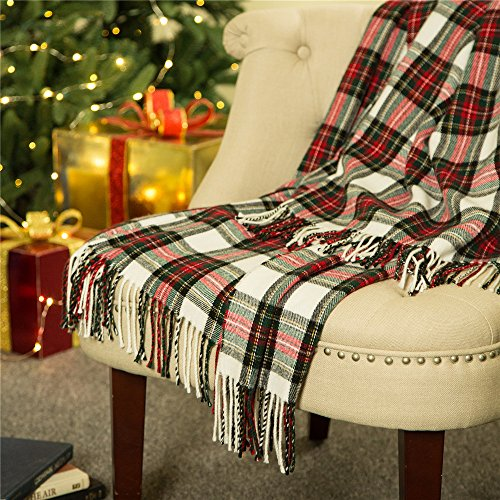 Glitzhome Throw Blanket For Couch Soft Cozy Throw Blanket For Bed Tartan Shawl With Tassels Plaid Throw Blanket For Sofa Reversible Wrap Scarf For Women Men 60 X 50 Inches 0