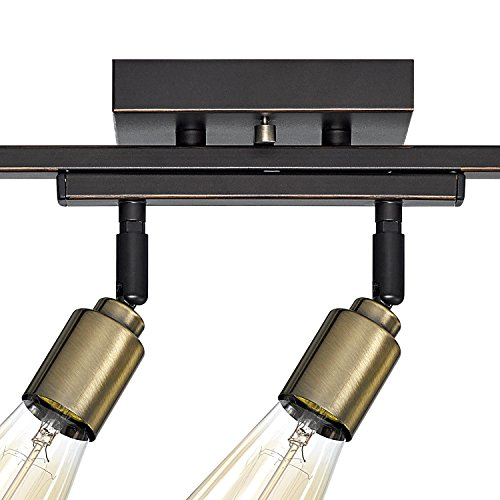 Globe Electric 59035 Bryce 4 Light Track Lighting Antique Brass Sockets Oil Rubbed Bronze Finish Bulbs Included 0 0