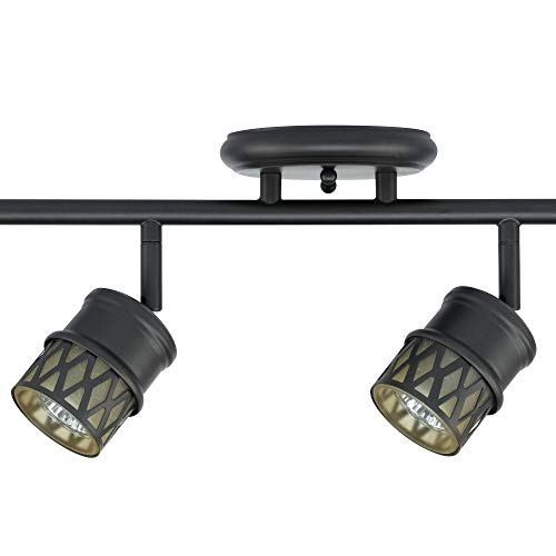 Globe Electric 59063 Norris 4 Light Track Lighting Bronze Oil Rubbed Finish Champagne Glass Track Heads Bulbs Included 0 0