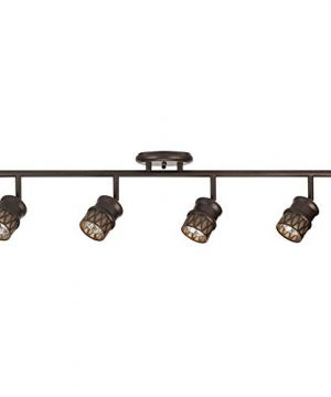 Globe Electric 59063 Norris 4 Light Track Lighting Bronze Oil Rubbed Finish Champagne Glass Track Heads Bulbs Included 0 300x360