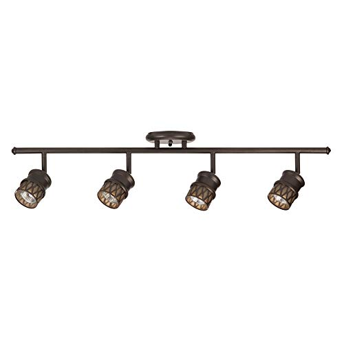 Globe Electric 59063 Norris 4 Light Track Lighting Bronze Oil Rubbed Finish Champagne Glass Track Heads Bulbs Included 0