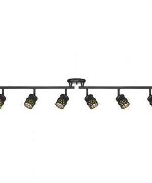 Globe Electric 59086 Kearney 6 Light Foldable Track Lighting Oil Rubbed Bronze Finish Champagne Glass Shades Bulbs Included 0 300x360