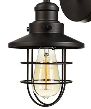 Globe Electric 59123 Beaufort 1 Light Wall Sconce Dark Bronze Removable Cage Shade 0 0 300x360