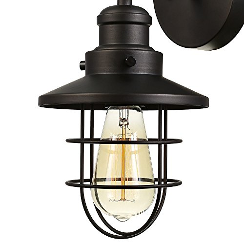 Globe Electric 59123 Beaufort 1 Light Wall Sconce Dark Bronze Removable Cage Shade 0 0
