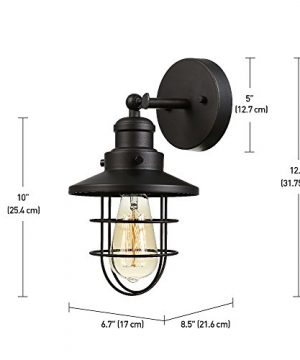 Globe Electric 59123 Beaufort 1 Light Wall Sconce Dark Bronze Removable Cage Shade 0 1 300x360
