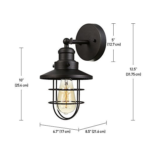 Globe Electric 59123 Beaufort 1 Light Wall Sconce Dark Bronze Removable Cage Shade 0 1