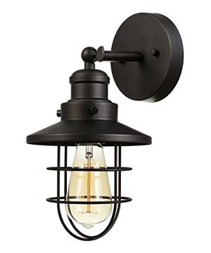 Globe Electric 59123 Beaufort 1 Light Wall Sconce Dark Bronze Removable Cage Shade 0 300x360