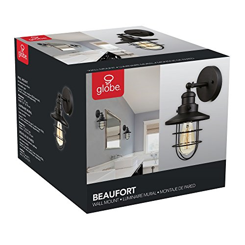 Globe Electric 59123 Beaufort 1 Light Wall Sconce Dark Bronze Removable Cage Shade 0 5
