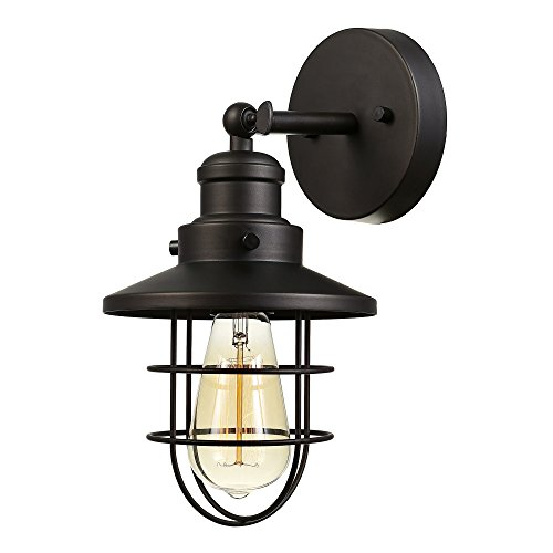 Globe Electric 59123 Beaufort 1 Light Wall Sconce Dark Bronze Removable Cage Shade 0
