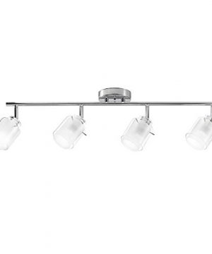 Globe Electric 59267 Sydney 4 Light Track Lighting Chrome Finish Clear Glass And White Glass Shade 0 300x360