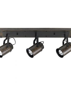 Globe Electric 59316 Williamsburg 3 Light Track Lighting Dark Wood Finish Metal Accents Bulbs Included 0 300x360
