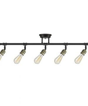 Globe Electric 59328 Rennes 5 Light Track Lighting Oil Rubbed Bronze Finish Antique Brass Sockets Bulbs Included 0 300x360