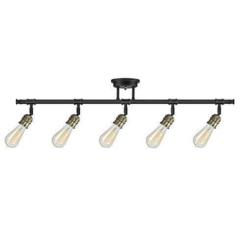 Globe Electric 59328 Rennes 5 Light Track Lighting Oil Rubbed Bronze Finish Antique Brass Sockets Bulbs Included 0