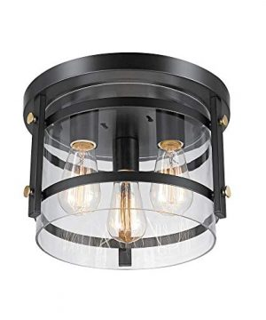 Globe Electric 60417 Wexford 3 Light Flush Mount Ceiling Light Dark Bronze Brass Detail Clear Glass 0 300x360