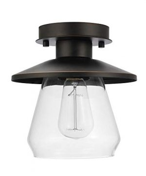 Globe Electric 64846 Nate Light Semi Flush Mount Oil Rubbed Bronze With Clear Glass Shade 8 0 300x360