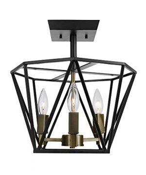 Globe Electric 65979 Sansa 3 Light Semi Flush Mount Ceiling Light Dark Bronze Finish Antique Brass Accents 0 300x360